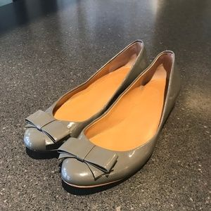 J. Crew Harper Gray Patent Flats with Bows